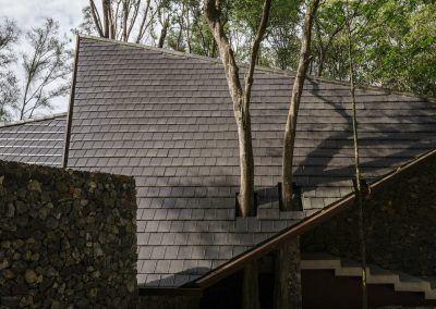 Perforated roofs to fit trees