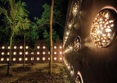 Wall of lights at entrance